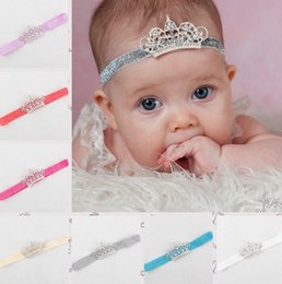 Wholesale Luxury Diamond Hair Accessories - Baby Infant Luxury Shine diamond Lace Crown Headbands Hair band8Color girl Wedding Hair bands Children Hair Accessories baby Hair band B001