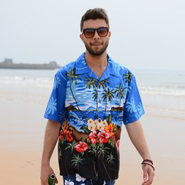 Wholesale Hawaiian Dress Xl - Wholesale-Mens Hawaiian Shirt Coconut Tree Floral Print Shirts Large Cotton Fancy Dress Shirts For Men Summer Style Camisa Vetement Homme