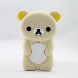 Wholesale Iphone 3d Skin - Cartoon 3D Cute Bear Silicone Skin Case Cover for Apple iPod Nano 7 7th Generation 7G (Beige)