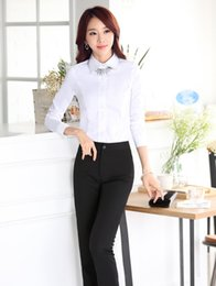 Wholesale Women Outfit Business - Wholesale-Formal Uniform Style Business Women Pantsuits Tops And Pants Office Work Wear Suits With Blouses Female Trousers Outfits Set