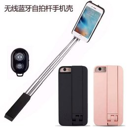 Wholesale Steel Cellphone - 4 Colors Cell Phone sticks Cases ABS Fitted Case Dirt-resistant CellPhone Cases with Bluetooth Selfie Stick for iPhone 6s 6s plus