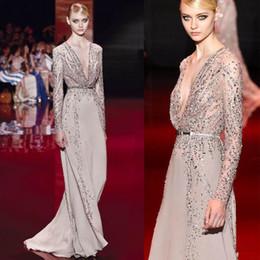Wholesale Overlay Prom Dresses - 2016 Elie Saab Shinning Evening Dresses Sheer Long Sleeves Major Beading Overlay Floor Length Deep V Neckline Long Sleeve Prom Pageant Gowns