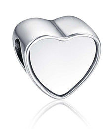Wholesale 925 Sterling Silver Blanks - 925 sterling silver blank heart photo bead Metal Slider Big Hole European Charms Fit Pandora Chamilia Biagi Bracelet