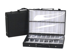 Wholesale Eyeglasses Storage Case - eyeglass double tray sample bag display storage box suitcase eyewear brief case tray with dividers sample carring bag