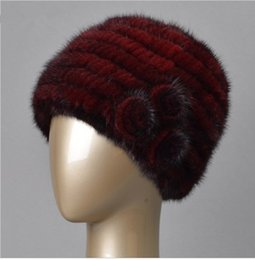 Wholesale Mink Fur Flowers - Winter real fur hat for women natural mink fur hat with lining knitted fur beanies with flower new arrival good quality fur hat