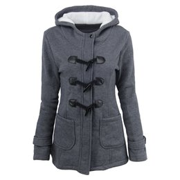 Wholesale Wholesale Sports Horns - 2017 Women's Hoodies Sweatshirts Coat Autumn Winter Sport Outerwear Warm Jackets Coats Feminino Horn Button