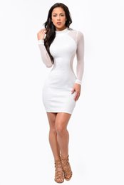 Wholesale White Winter Clubbing Dresses - New Winter Women Yellow Black White Bodycon Bandage Dress Sheer Mesh See Through Long Sleeve Sexy Club Mini Party Dresses