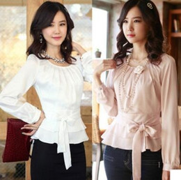 Wholesale B16 Sleeves - Hot Sale Women's Career Ruffled Hem Long Sleeve Chiffon Blouse Silk Office Lady Tops clothing Plus Size Blouses B16 SV00327