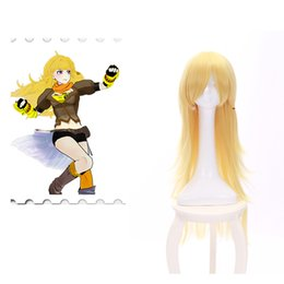 Wholesale Halloween Party Wigs - RWBY Yang Xiao long Cosplay wigs synthetic wigs 80cm Gold Yellow Long Wigs Party Halloween Cosplay For Women Wig