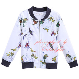 Wholesale Baby Baseball Jackets - New Spring And Autumn Cutestyles Little Birds Print Coat For Boys Long Sleeves Jackets Woolen Baseball Baby Children Outwear OC90321-15L