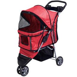 Porta gatto pieghevole online-Passeggino per animali domestici Cat Dog 3 ruote Passeggino Pieghevole Easy Walk Carrier Rosso