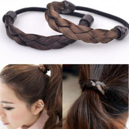 Wholesale Hair Ponytail Holders Jewelry - Hairpin Korean Hair Rope Ring Elastic Braided Tonytail Wrap Hairband Fastening Accessories Synthetic Headwear Ponytails Holder Hair jewelry