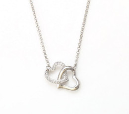 Wholesale Platinum Heart Shaped Necklace - Top Design Heart Shape Necklace Platinum Plating Ladies Zircon Stones Pendant Chains High Quality Women Necklaces Jewelry