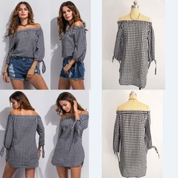 Wholesale Sexy Pearl Blouse - Hot! Sexy Womens Black and White Plaid Dress Long Sleeve Plaid Blouse Strapless strap Dress Autumn Dress Club Dress Casual Dress New