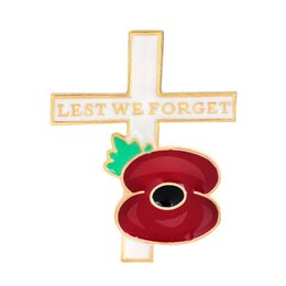 """Wholesale American Red Cross Pin - """"Lest We Forget"""" Red Enamel Gold Tone British Poppy Brooch Flower Cross Pin with Leaf Remembrance Day Gift DHL free shipping"""