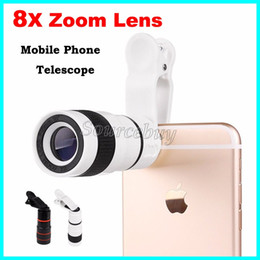 Wholesale Zoom 8x Phone - Mobile Phone Telescope 8X Zoom Lens Magnification Magnifier Optical Telephoto Camera Lens For iPhone Samsung Galaxy HTC Retail Package DHL