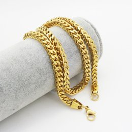 Wholesale Gold Plate Boys Chain - High Quality 62CM Length 18K Gold Plated Byzantine Stainless Steel Necklace Boys Mens Chain Necklace Fashion jewelry