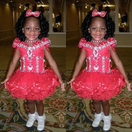 Wholesale Evening Gown Dresses For Kids - 2016 Golden Globe Girl Pageant Dresses Cap Sleeve Beads Crystals Pageant Dresses Evening For Girls Tulle Little Girls Red Kids Prom Dresses