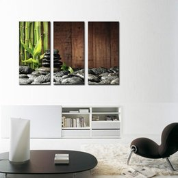 Wholesale Canvas Wall Art Bamboo - 3 Picture Combination Wall Art Bamboo Grove And Black Zen Stones On The Old Wooden Background On Canvas Botanical At Home Decor