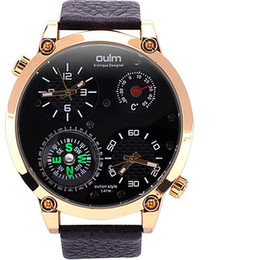 Wholesale thermometer big - Oulm Men's Fashion Dual Time Zones Quartz Casual Compass Thermometer Watch Big Dial Watch Cool Unique Watch