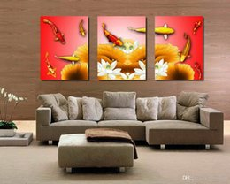 Wholesale Wall Paint Fish - Modern Feng Shui Zen Art Koi Fish Play Lotus Flower Giclee Print On Canvas Wall Decor Set30063