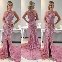 vestido de fiesta vestido rosa Rebajas BlingBling Sparkly Sexy Pink Prom Dresses Halter sin mangas con cuentas Crystal Sirena Side Slit Zipper Back Desfile de vestidos de noche
