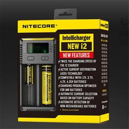 Wholesale E Cigarette Charger Uk - Original Nitecore I2 Universal Charger Fit 18350 18650 14500 26650 E Cigarette Mods Battery Multi Function Intellicharger US UK EU AU FJ011