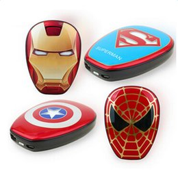 Wholesale Wholesale Iron Man Power Bank - 12000mAh PowerBank The Avengers Captain America Iron Spider Super Man Mobile Power Bank For Iphone 7 Samsung HTC