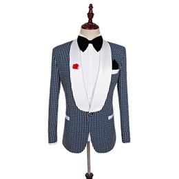 Wholesale Terno Custom Made - Plaid Social Club Mens Suits Italian Elegant Mens Wedding Suits 2017 British Style Terno Slim Fit Grey Dresses Smoking Business