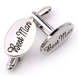 Wholesale Clip Cuff Links - Mens Wedding Cufflinks OVAL Shirt Cuff Link Clips Best Man Grooms   Groomsman Usher Page Gift Accessories