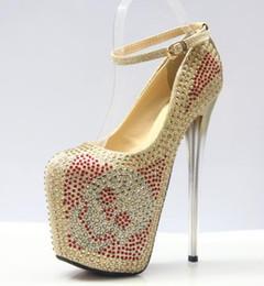 Wholesale Diamond Dancing Shoes - 19cm Crystal High Heels Women Shoes Diamond Platform Round Toe Women Pumps Club Sexy Red Bottom Dancing Shoes Plus Size 35-43