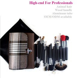 Wholesale High End Leather Bags Wholesale - 2016 Hot sale professional high-end animal hair 26pcs multifunction makeup brush kits leather bag wood handle