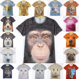 Wholesale T Shirt For Dog Xl - Hot Sales! 3D Animals Print T Shirts For Men Big Face Tees Short Sleeve Slim Fit Polo Tiger Cat Dog Wolf Polyester Factory Free Shipping