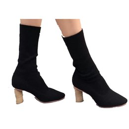 Wholesale Wedge Ankle Wool Boots - Thick heeled shoes boots women knit shoes with the autumn and winter 2017 pedicure leg boots wool boots. XZ-028