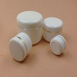 Wholesale Cosmetic Jars White - Portable Plastic Cream Jars 50g Refillable Empty White Makeup Lotion Packing Bottle Cosmetic Makeup Containers 50pcs lot FZ131