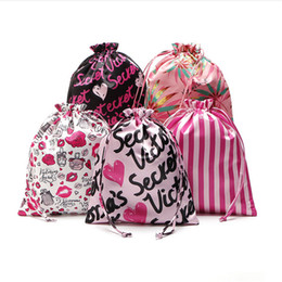 Wholesale Folding Fabric Shopping Bag - VS Pink Drawstring Bag 29*23cm 5 Style VS Printing Outdoor Travelling Bags Victoria PINK Cosmetic Bag Underwear Storage Bags Shopping Bag