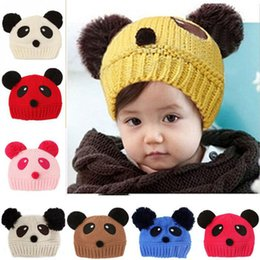 Wholesale Panda Knitted Hat - 1pc Lovely Panda Baby wool knitted Hats Kids Boy Girl Crochet Beanie Hats Winter Cap For Children To Keep Warm Hot Sale SEN264