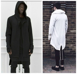 Wholesale cotton capes - 2016 Hoodies For Men Urban Hoodie Hip Hop Jacket White Black Men's Coat Extended Cape Hoodie Mens Hooded Cloak Hoodies