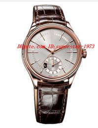 Wholesale Rose Gold White Leather Watch - Luxury Wristwatch Dual Time 39mm Mens Watch ROSE GOLD 50525 Silver Dial Automatic Mechanical Men's Watch Top Quality