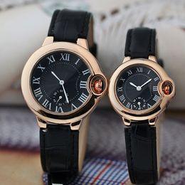 Wholesale Luxury Watch Couples - 2016 Hot Luxury Women Watch Men Watches Couple Top Brand C Ballon Blue Roman Numerals Dial Leather strap Quartz Wristwatch for Men Women