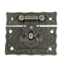 Wholesale Latch Jewelry - Dorabeads Jewelry Box Hasp Latch Lock Decorative Hasp Antique Bronze Pattern Carved 5.1cm x 2.9cm 5.1cm x 3.5cm,5 Sets