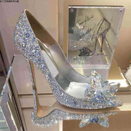 Wholesale Silver Crystal Pumps - Top Grade Bridal Shoes Rhinestone Wedding Shoes Sparkle Crystal Shoes for Prom Party Event US size 4 to 9