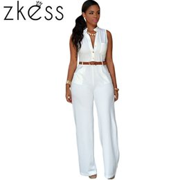 Wholesale Yellow Overalls Women - Wholesale-Zkess Adult 7 Colors Plus Size 2XL Women Playsuits Fashion White Belted Wide Leg Jumpsuit Rompers Long Macacao Overalls LC60932