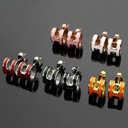 Wholesale Rose Onyx - Hot Sale Titanium steel H studs earrings female models Korean version rose gold black agate onyx shell mini earrings wholesale STUDS
