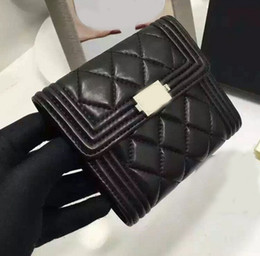 Wholesale Boys Leather Wallets - excellent quality boy style lambskin wallet black classic quilted flap wallets 100% genuine leather women boy wallet gold silver hardware
