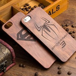 Wholesale Phone Batman - For Samsung Galaxy S8 S7 edge S5 Wood Case Retro Wooden Bamboo Phone Cover Hybrid Shockproof Batman Cases For iphone 7 6 plus