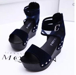 Wholesale Taiwan Wedges - 2016 Summer new fashion trends or lend wedges round head waterproof Taiwan higher in female sandals exempt postage