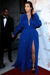 Wholesale kim kardashian blue long dress - 2018 Elegant Style V-neck Long Sleeves Side Slit Royal Blue Chiffon Formal Evening Gowns Kim Kardashian Red Carpet Celebrity Dresses