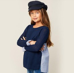Wholesale Teenagers Casual Shirts - HaydenGirls Teenager Striped T-shirts Junior Fashion Casual Jumper Tops Big Babies Autumn Clothes 2018 Kids Clothing