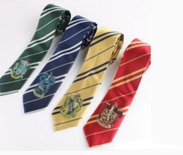Wholesale Harry Potter Fashion - Fashion Accessories Harry Potter mens ties Polyester tie halloween costumes cosplay props with the logo Gryffindor hight quality cheap tie